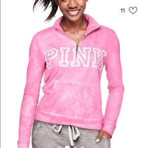 Pink victoria's Secret tie dye half zip sweatshirt